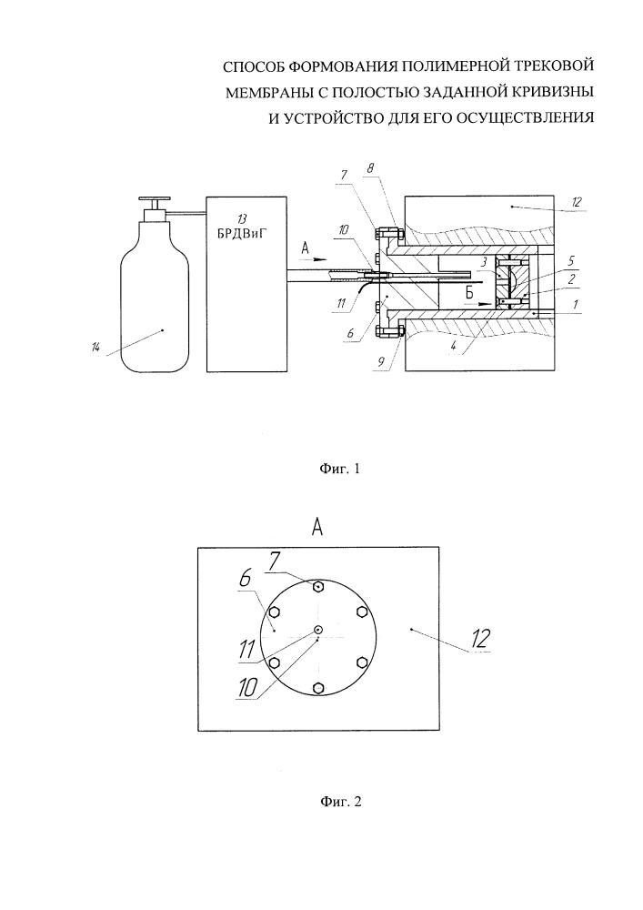 Способ формования полимерной трековой мембраны с полостью заданной кривизны и устройство для его осуществления