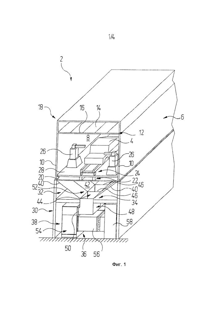 Способ и устройство для отвода насыщенного перераспылом технологического воздуха, а также установка для нанесения покрытий на предметы