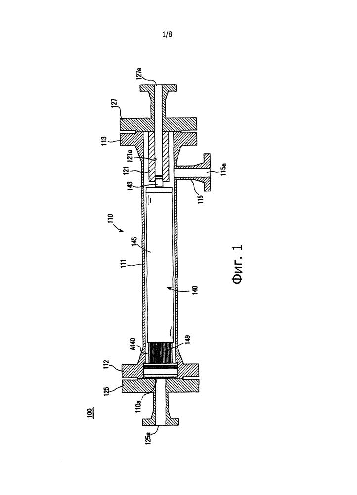Мембранный модуль разделения газов и способ замены элемента из полых волокон