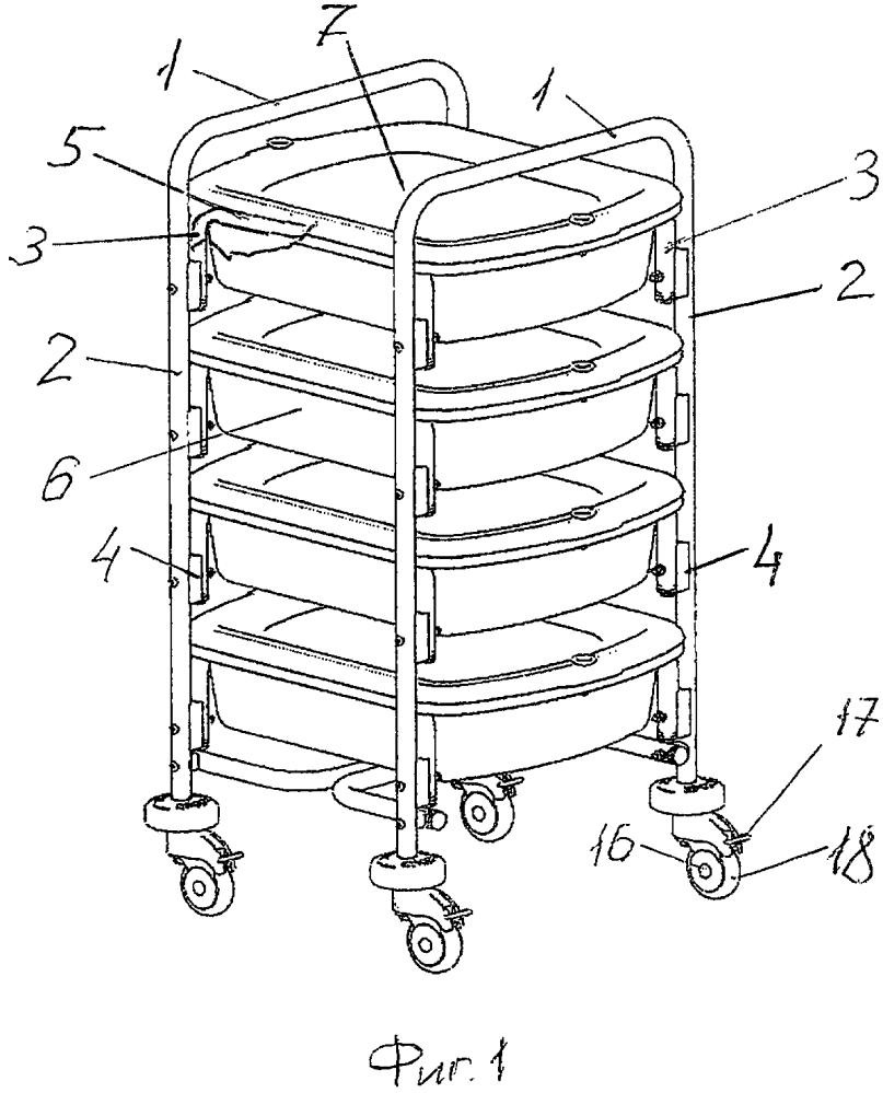 Тележка с контейнерами для хранения и транспортировки эндоскопов и контейнер для хранения и транспортировки эндоскопов