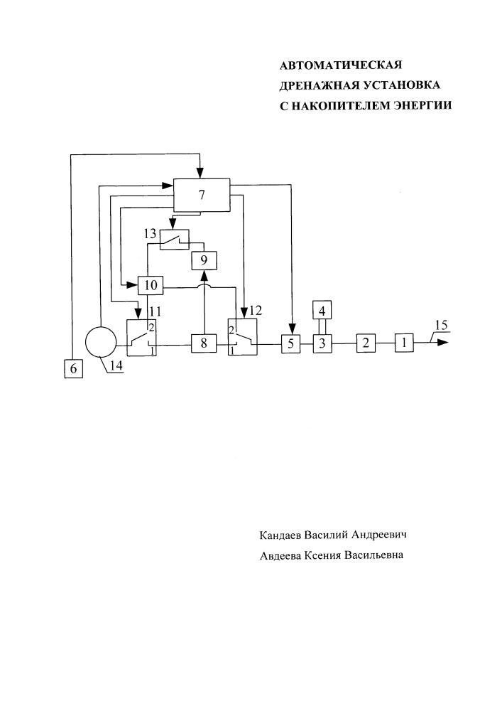 Автоматическая дренажная установка с накопителем энергии