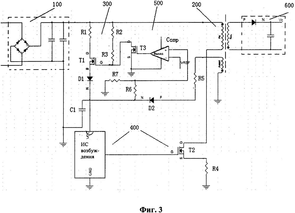 Схема обратноходового драйвера быстрого пуска и способ возбуждения