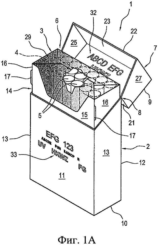 Упаковка для курительных изделий и способ изготовления упаковки