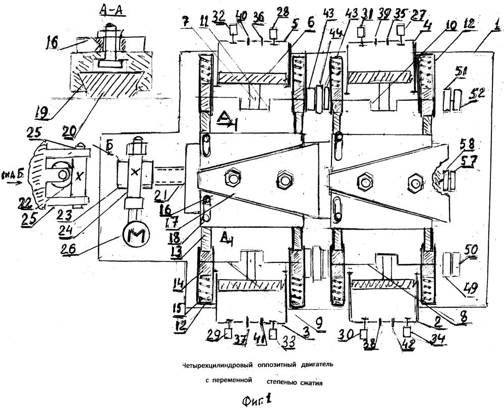 Четырехцилиндровый оппозитный двигатель с переменной степенью сжатия
