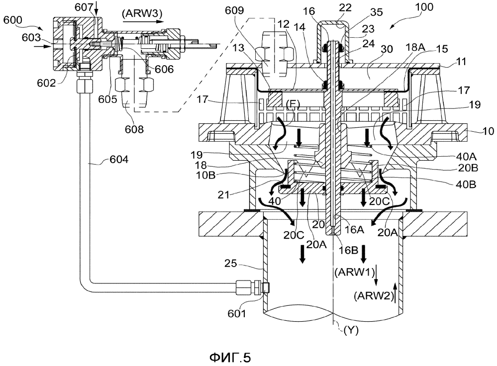 Пусковой клапан, предназначенный для машины, работающей с текучей средой, и работающий в вакуумной системе