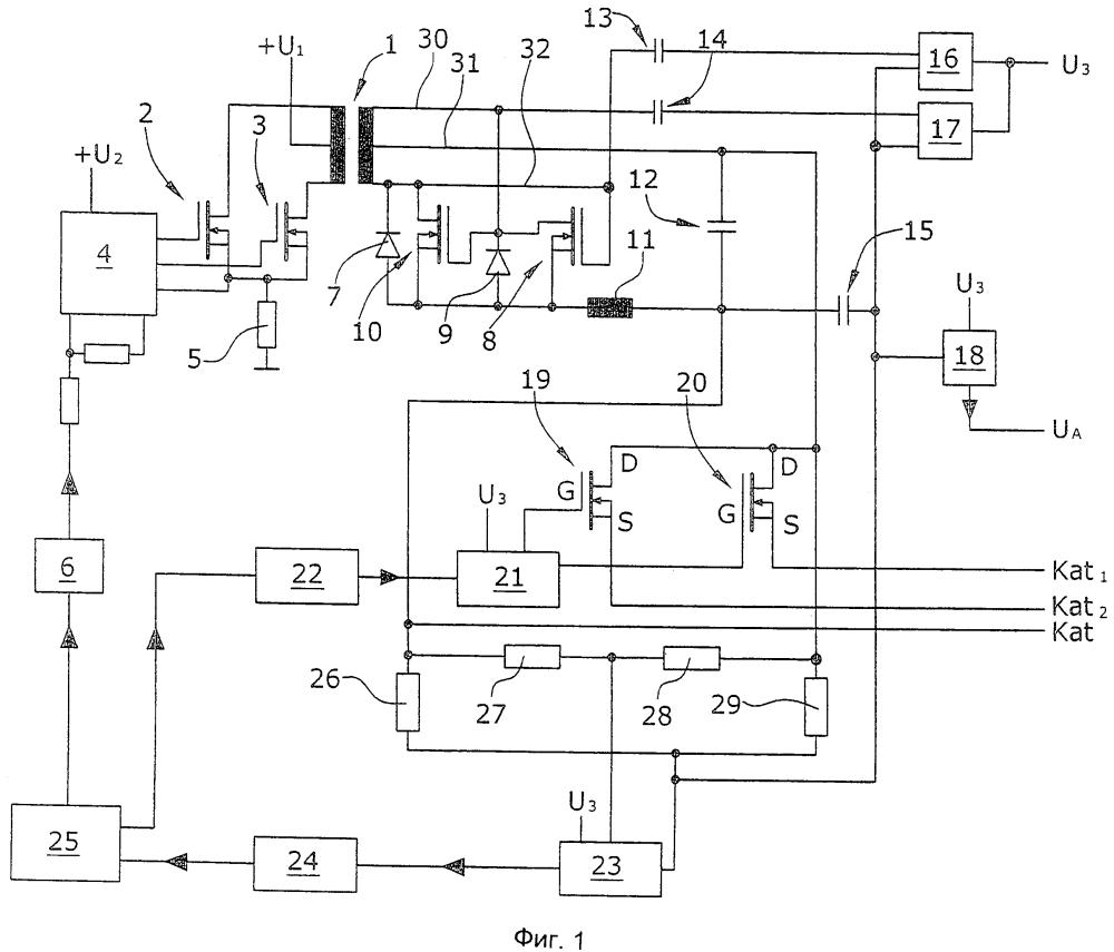 Устройство для питания напряжением катода масс-спектрометра