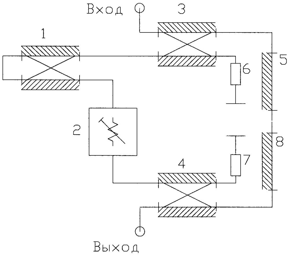 Секция дискретного фазовращателя с цифровым управлением