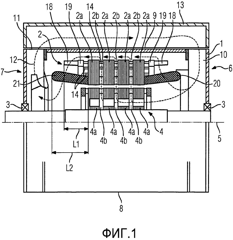 Электрическая машина с комбинированным воздушно-водяным охлаждением