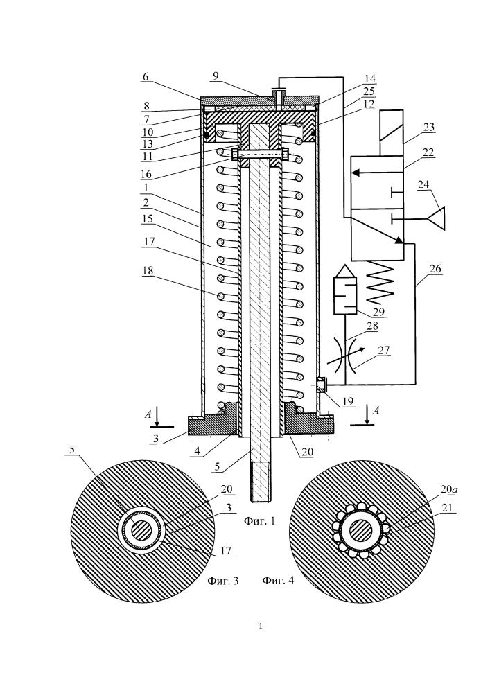 Пневмопривод рабочего органа устройства для пробивки корки электролита в алюминиевом электролизере