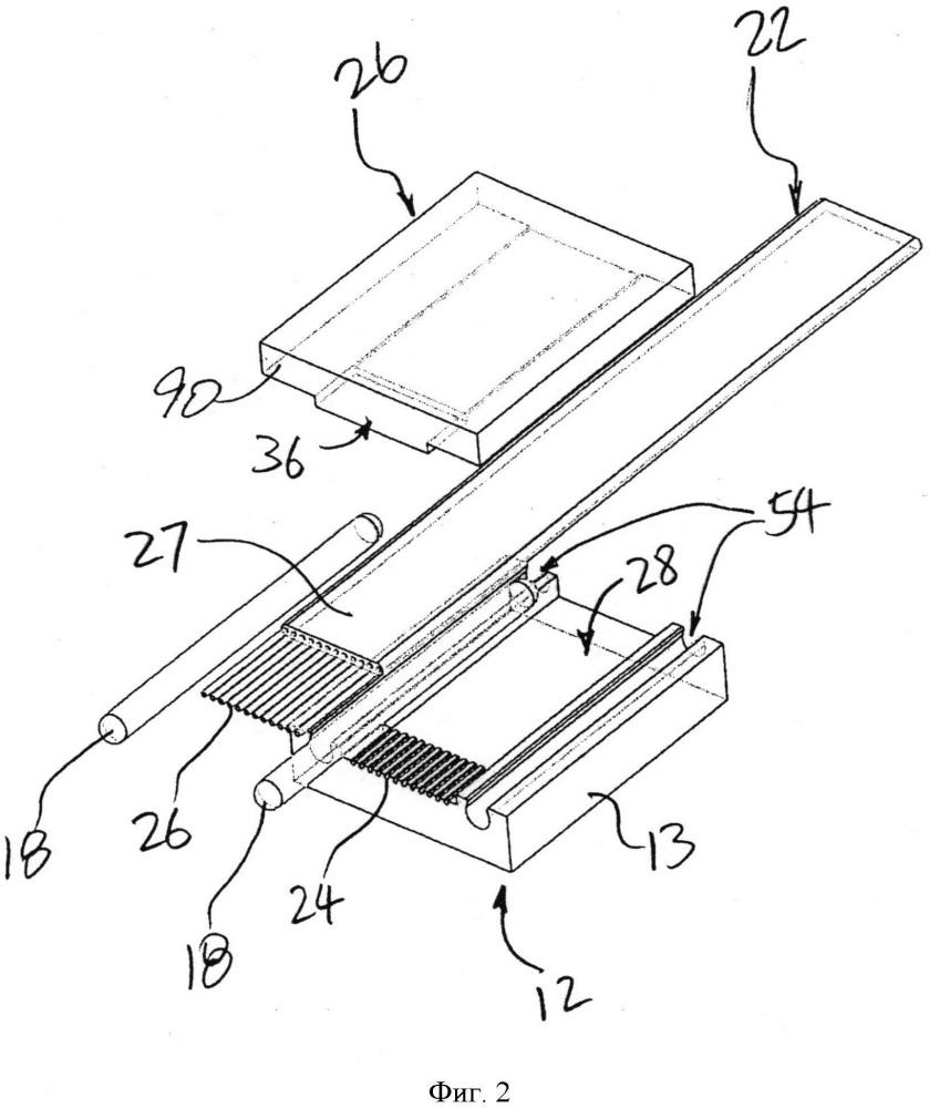Соединительный зажим для оптических волокон с пазами для обжима открытых волокон