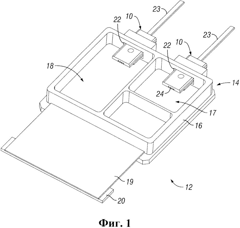 Герметическая сборка для выравнивания оптического волокна, имеющая интегрированный оптический элемент