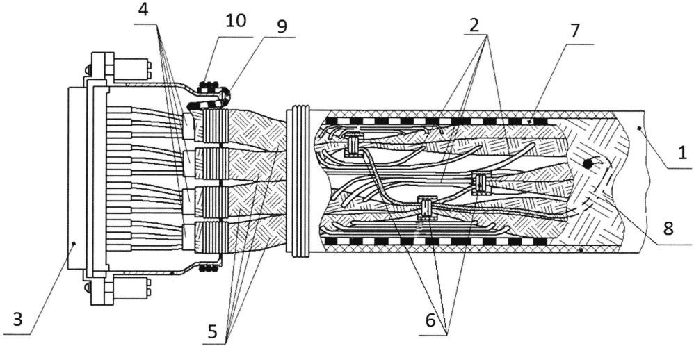Узел заделки наборного экранированного кабеля в электросоединитель