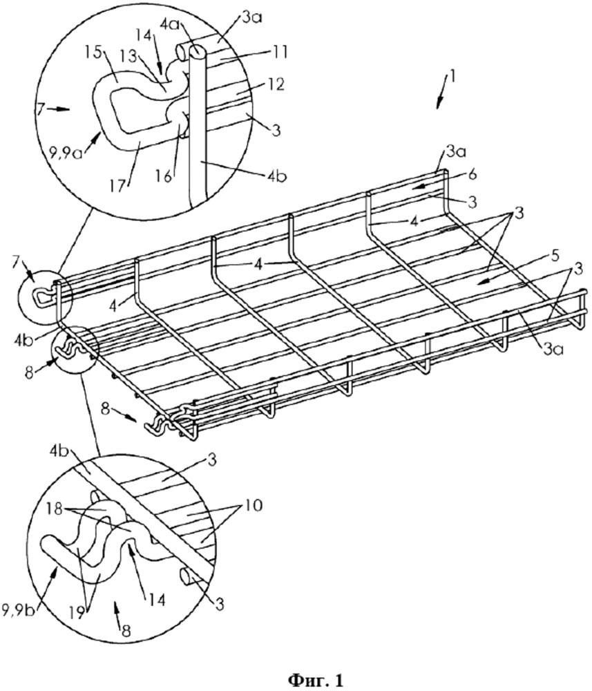 Секция кабельного лотка с поперечным зацеплением, кабельный лоток, содержащий такие секции, и способ его изготовления