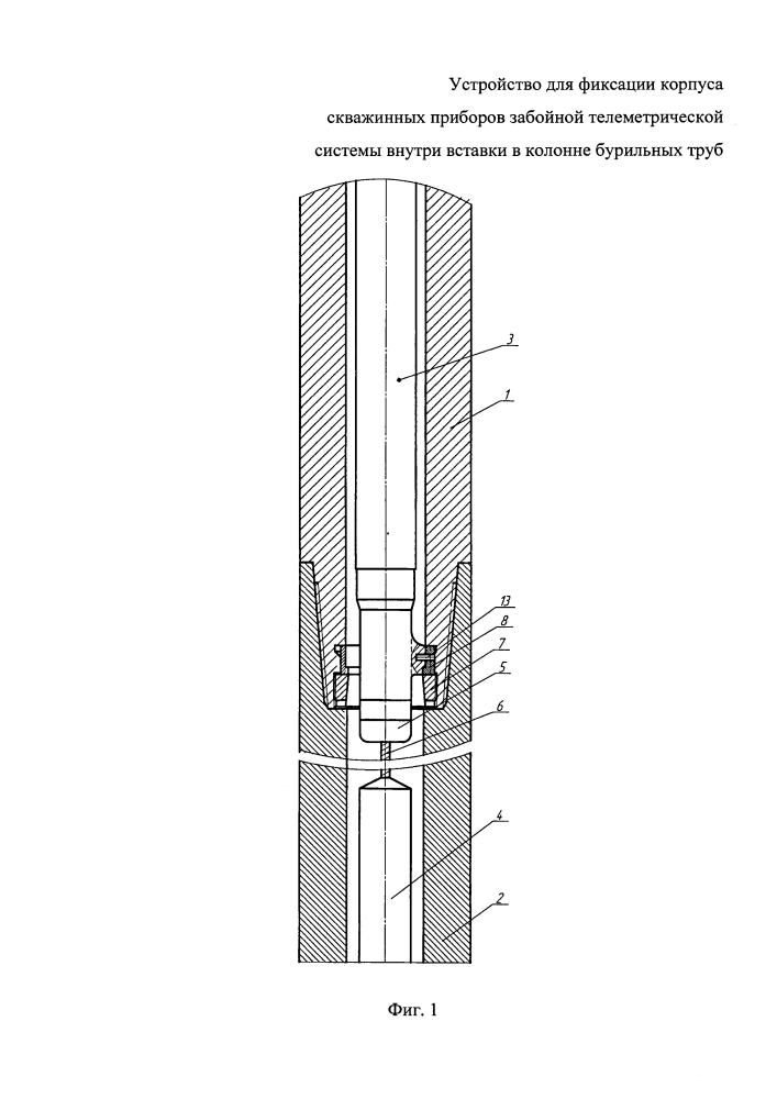 Устройство для фиксации корпуса скважинных приборов забойной телеметрической системы внутри вставки в колонне бурильных труб