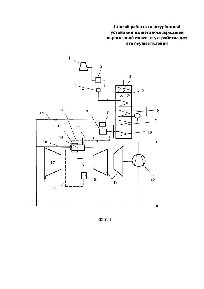 Способ работы газотурбинной установки на метаносодержащей парогазовой смеси и устройство для его осуществления