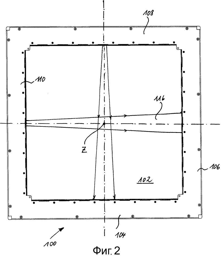 Измерительная рама для бесконтактного оптического определения позиции пробоины и соответствующий способ измерения