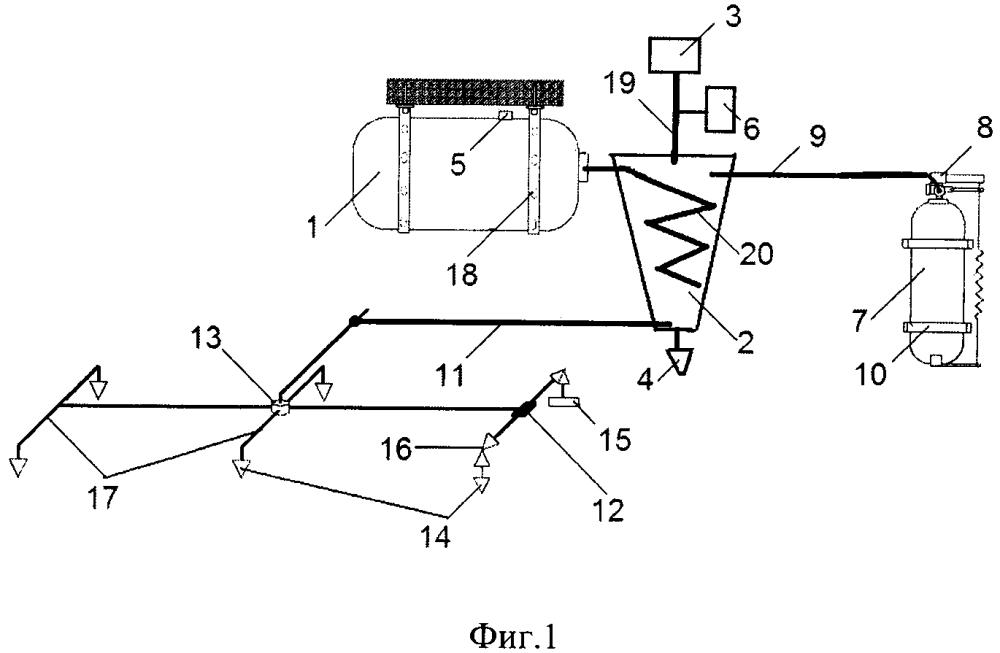 Модульная система пожаротушения с вихревым аппаратом формирования газожидкостной смеси