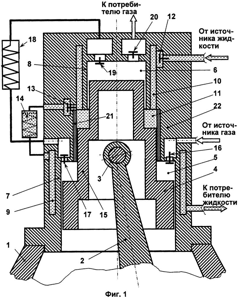 Поршневая двухступенчатая машина с внутренней системой жидкостного охлаждения