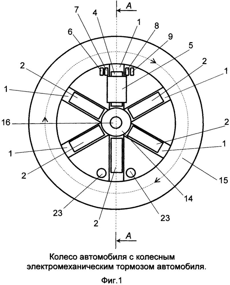 Колесный электромеханический тормоз автомобиля