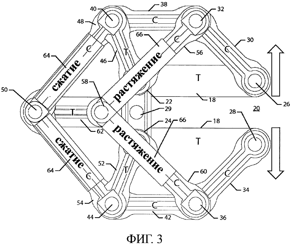 С-образная стержневая конструкция, выполненная с возможностью обеспечения компенсации отклонения, и связанный способ