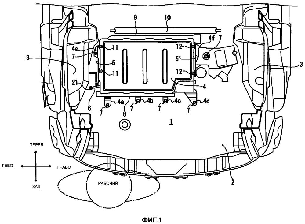 Структура для установки аккумулятора на транспортное средство