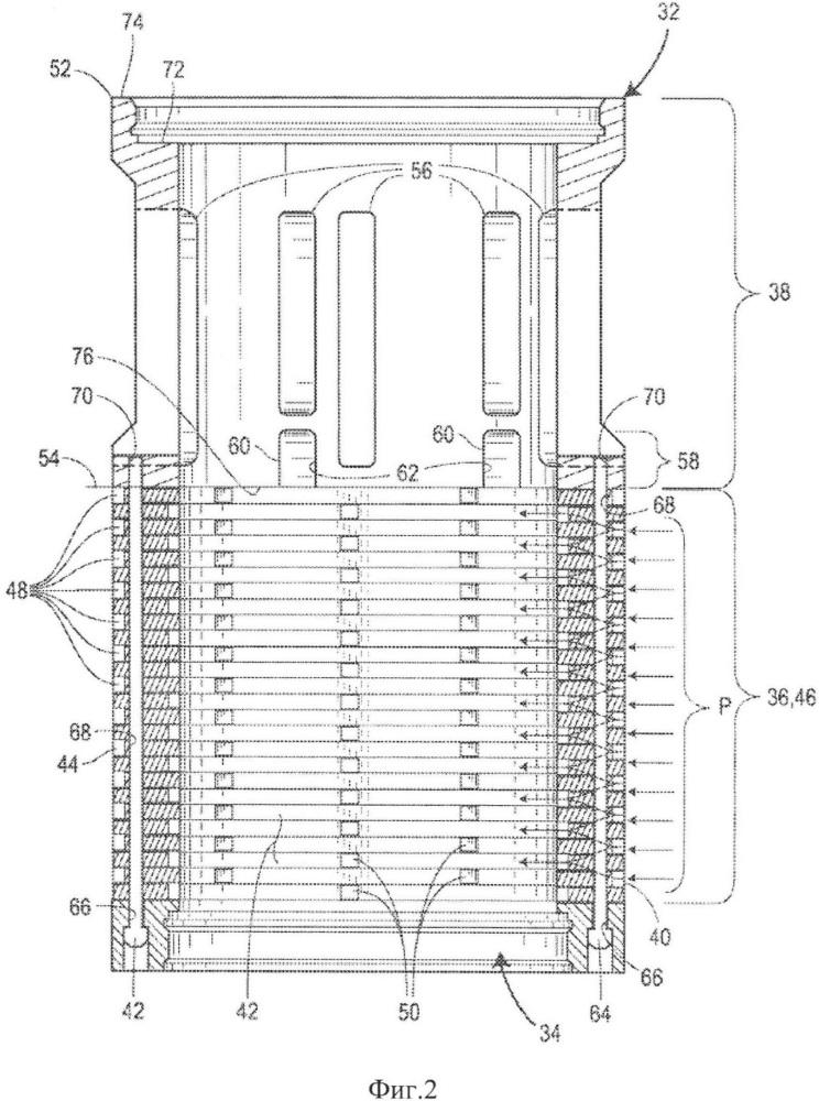Клетка клапана, не содержащая мертвых зон между участками шумоподавления и высокой пропускной способности потока