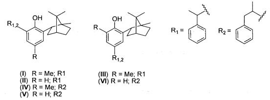 Гибридные терпенофенолы с изоборнильным и 1-фенилэтильным или 1-фенилпропильным заместителями и их применение в качестве средства, обладающего антирадикальной, антиоксидантной и мембранопротекторной активностью