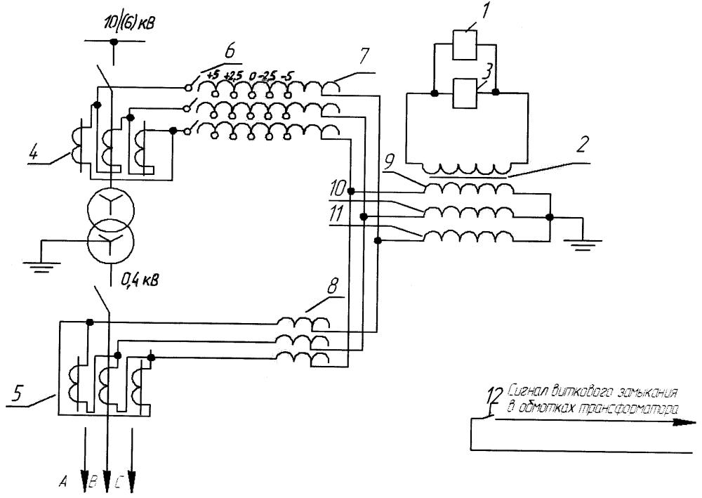 Устройство определения витковых замыканий в обмотках силового трансформатора с переключением без возбуждения