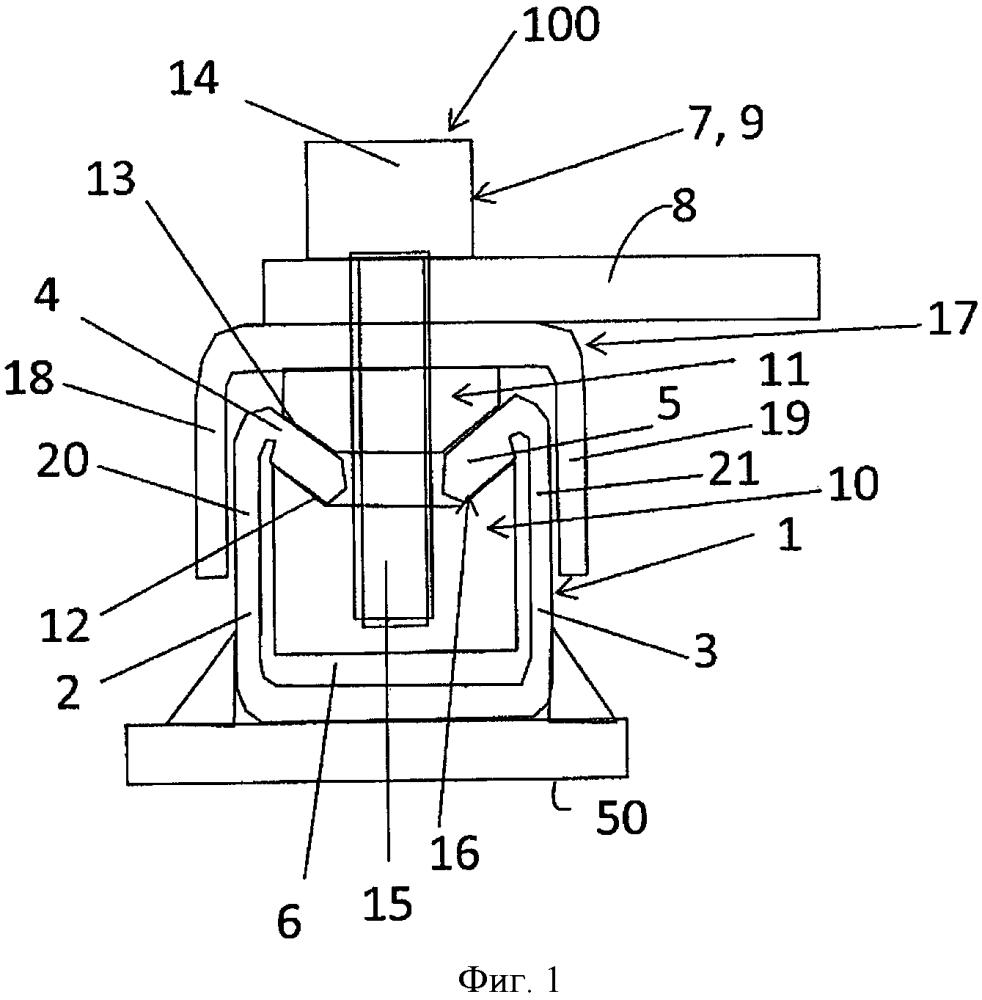 Стопорный элемент и монтажная система для крепления навесной детали на с-образной шине