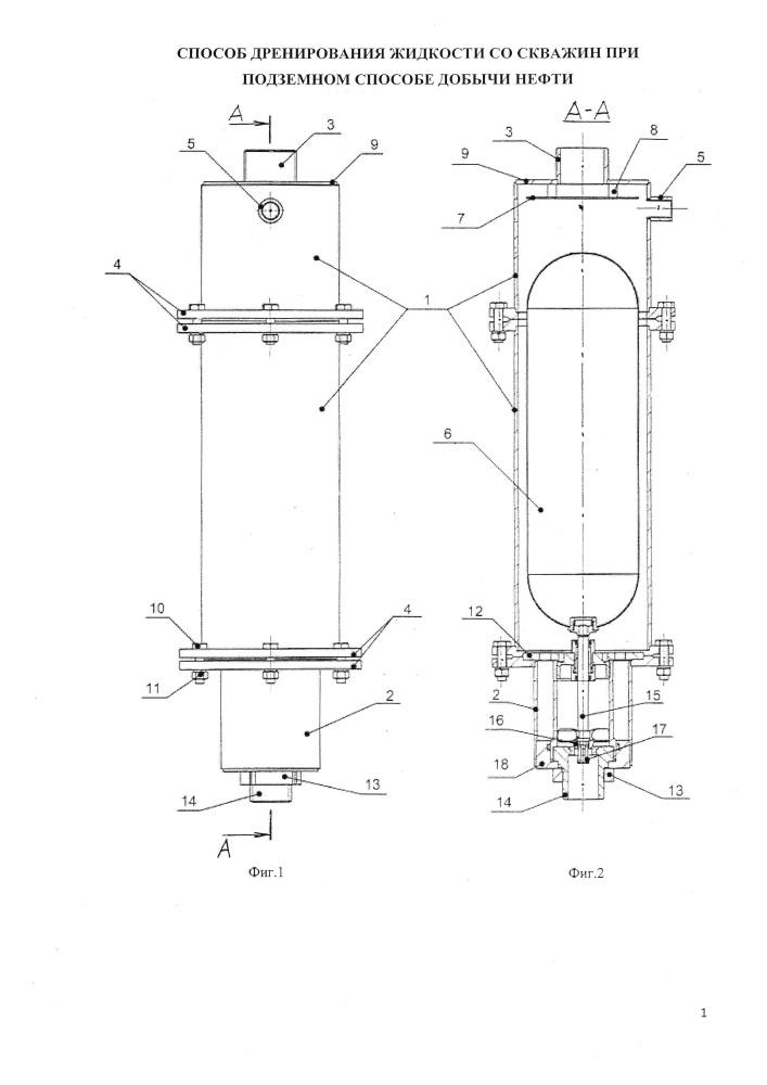 Способ дренирования жидкости со скважин при подземном способе добычи нефти