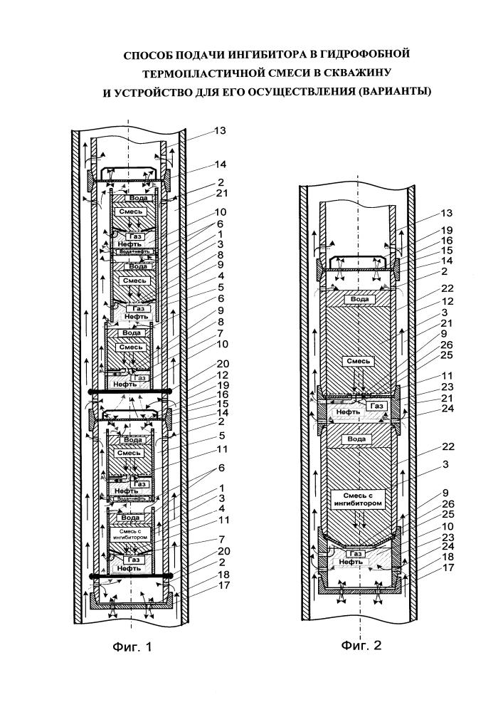 Способ подачи ингибитора в гидрофобной термопластичной смеси в скважину и устройство для его осуществления
