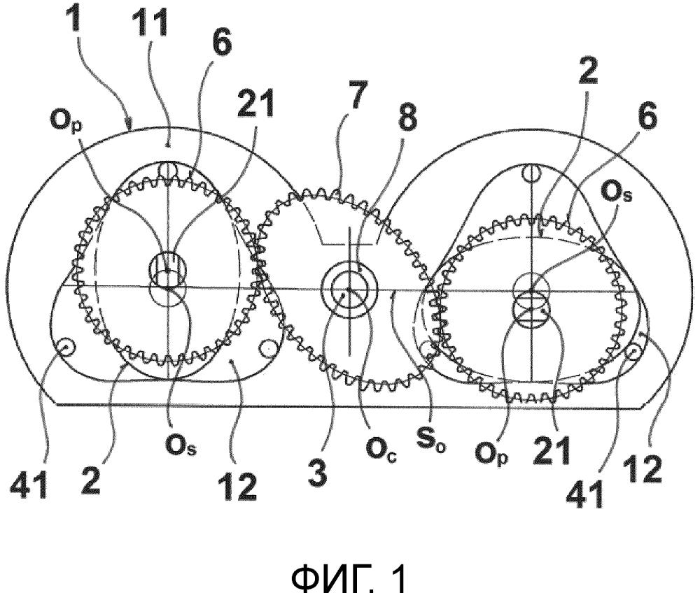 Роторный двигатель с зубчатой передачей, работающей на сжимаемой среде