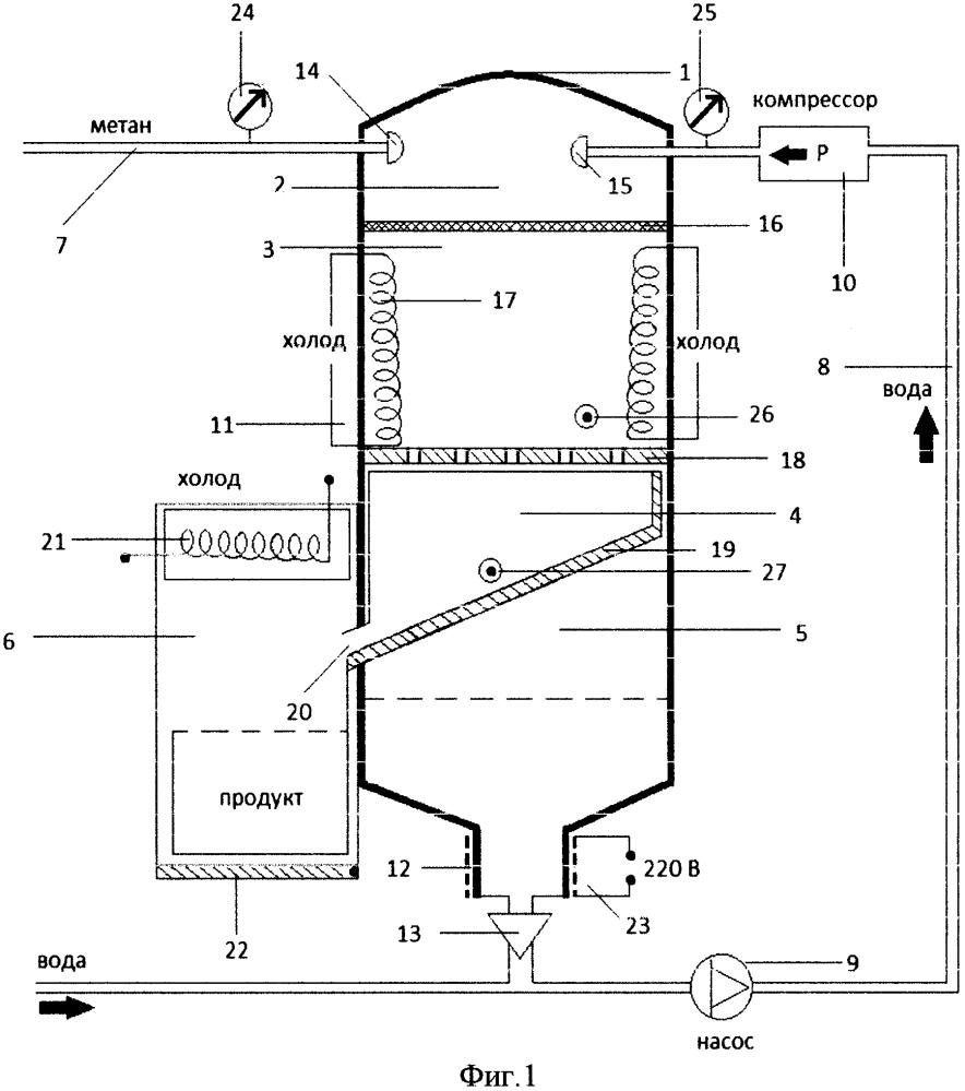 Установка для производства гидрата метана
