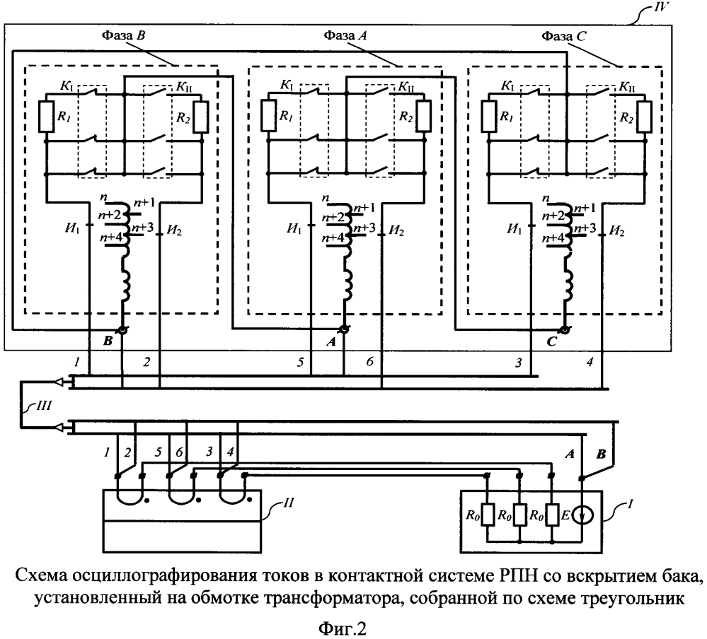 Способ снятия осциллограмм токов трехфазного регулятора напряжения под нагрузкой, установленного на обмотке высшего напряжения силового трансформатора, собранной по схеме треугольник, и устройство для его осуществления