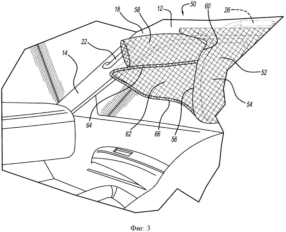Автомобильная боковая шторка безопасности с надувным удлиняющим элементом