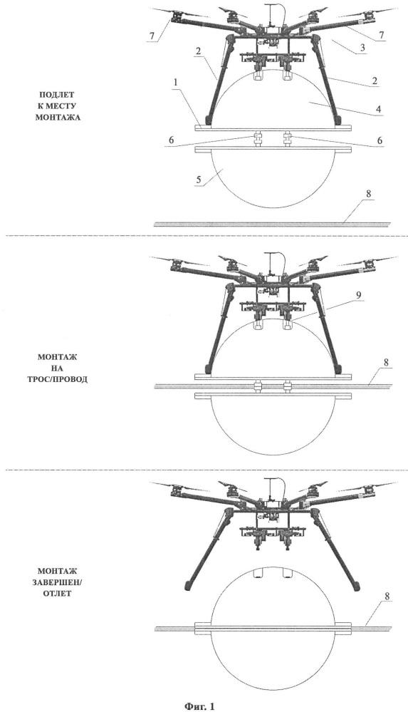 Способ монтажа маркеров, закрепляемых на проводах и молниезащитных тросах воздушных линий электропередачи, с помощью беспилотных летательных аппаратов (варианты)