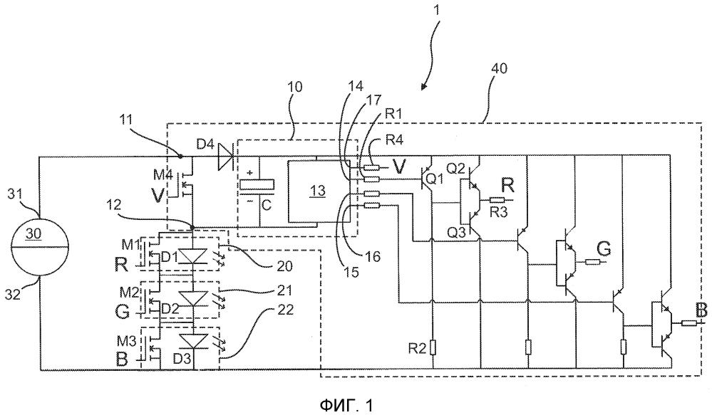 Схема формирователя led-гирлянды, включающая в себя диод управления зарядом для конденсатора