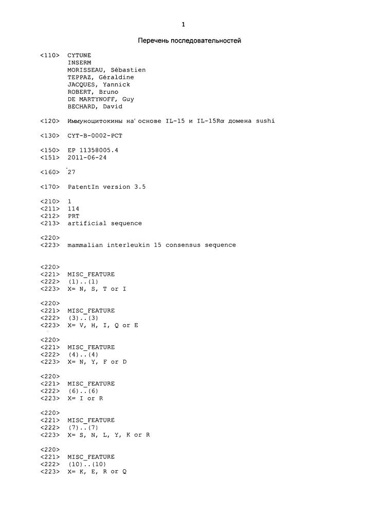 Иммуноцитокины на основе il-15 и il-r[альфа] домена sushi