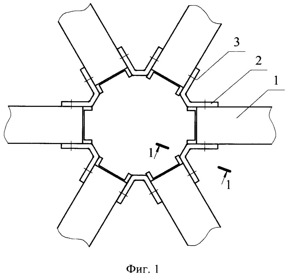 Узловое соединение стержней п-образного сечения пространственной конструкции
