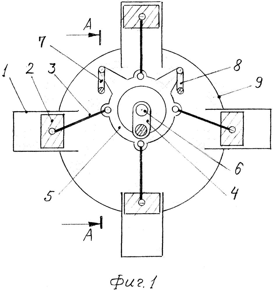 Механизм звездообразной поршневой машины