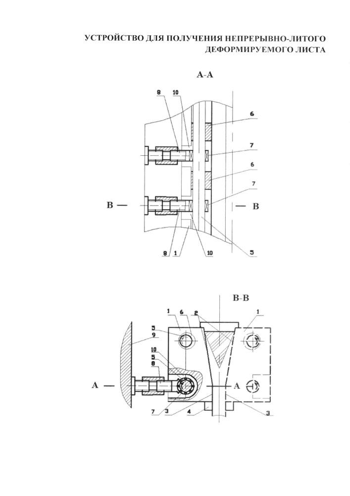 Устройство для получения непрерывно-литого деформируемого листа