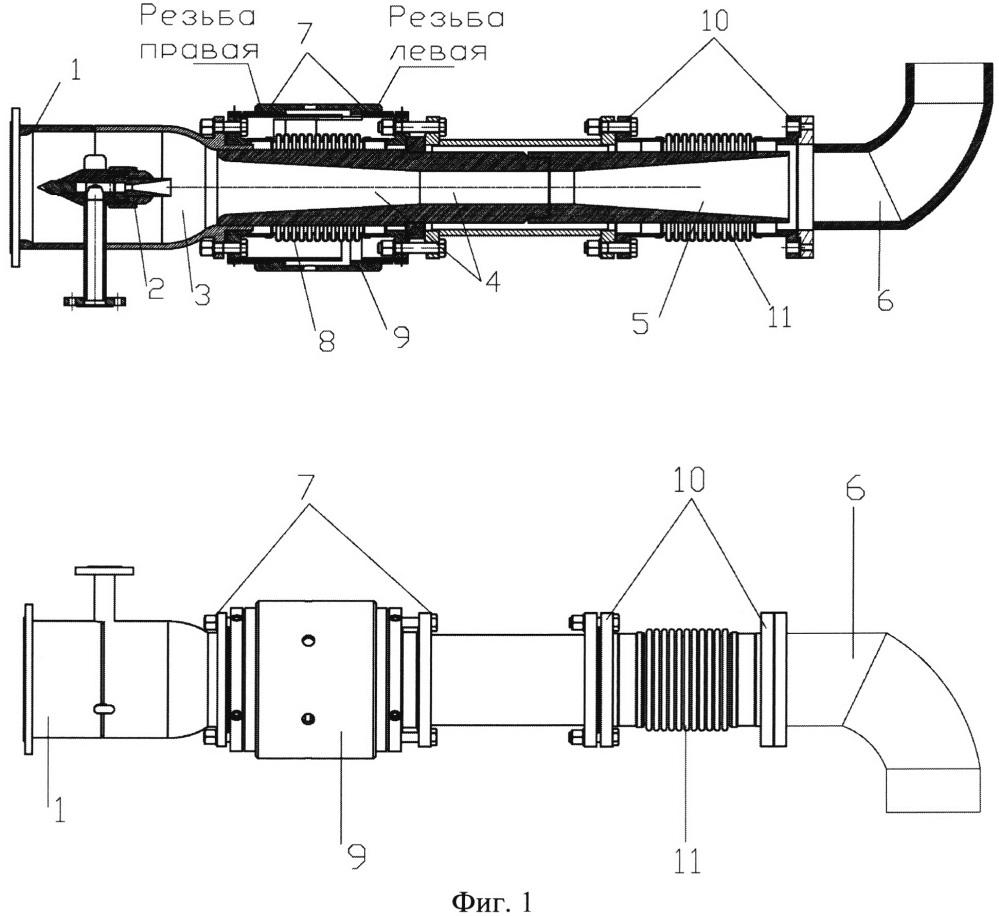 Струйный аппарат с изменяемым осевым расстоянием между соплом и камерой смешения