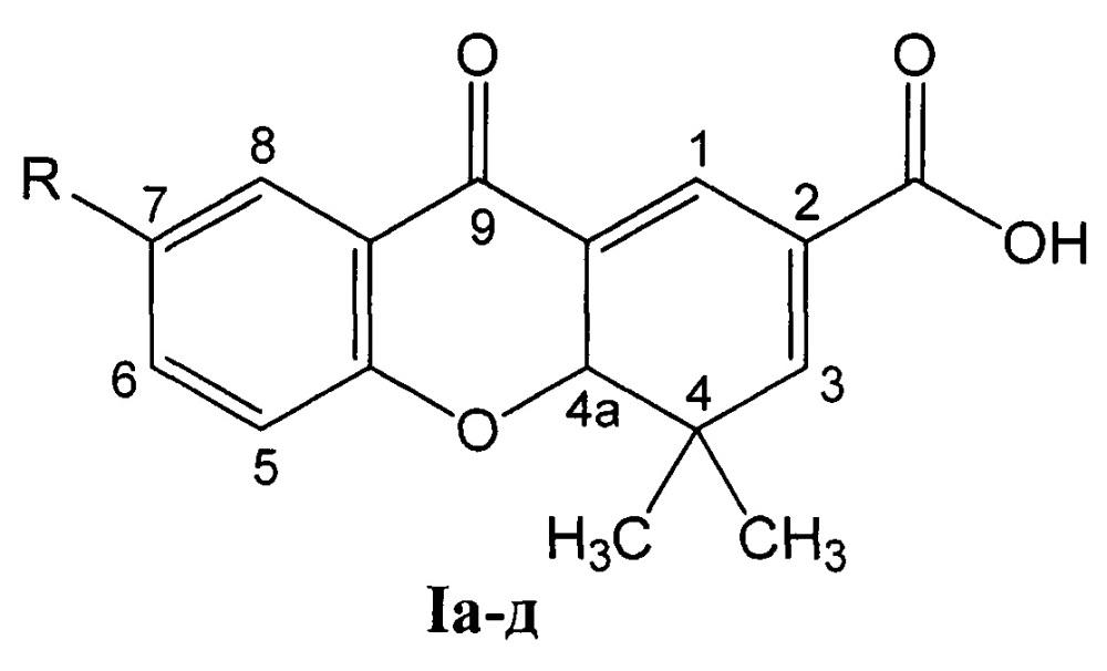 Способ получения 7-замещенных 4,4-диметил-9-оксо-4,4а-дигидро-9н-ксантен-2-карбоновых кислот и их цитотоксическая активность
