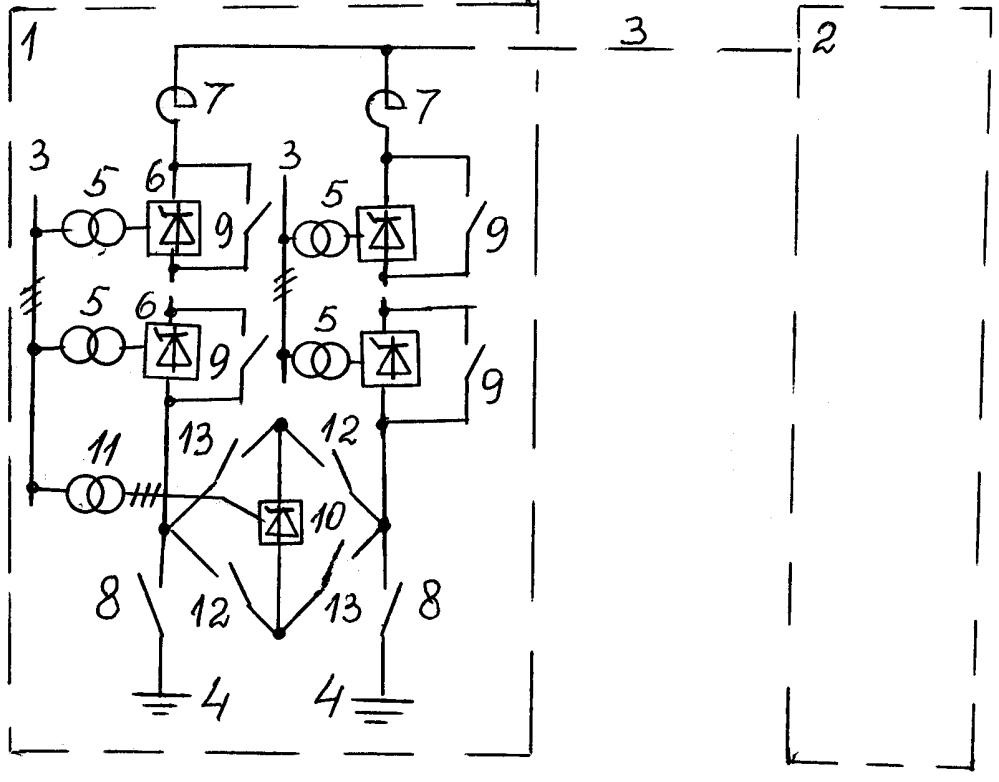 Подстанция двухветвевой электропередачи постоянного тока