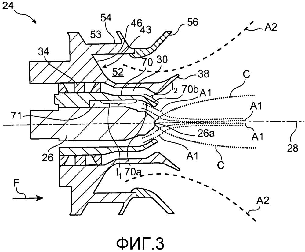 Система впрыска топлива для камеры сгорания турбомашины, содержащей кольцевую стенку с сужающимся внутренним профилем
