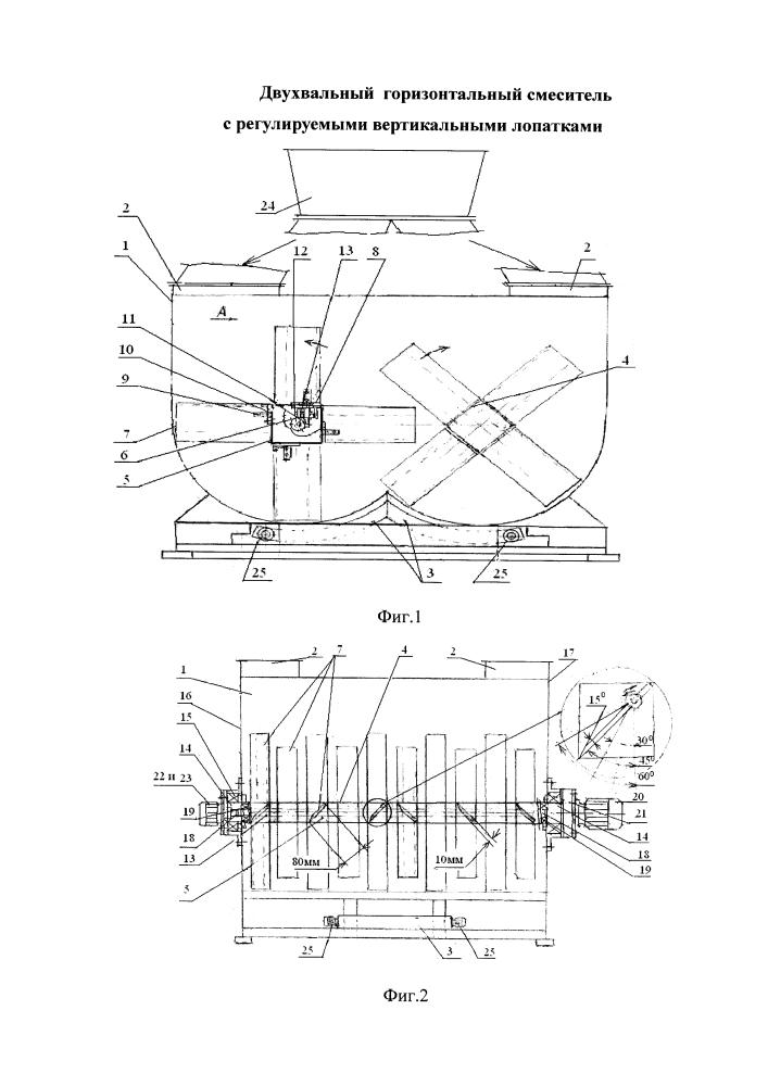 Двухвальный горизонтальный смеситель с регулируемыми вертикальными лопатками
