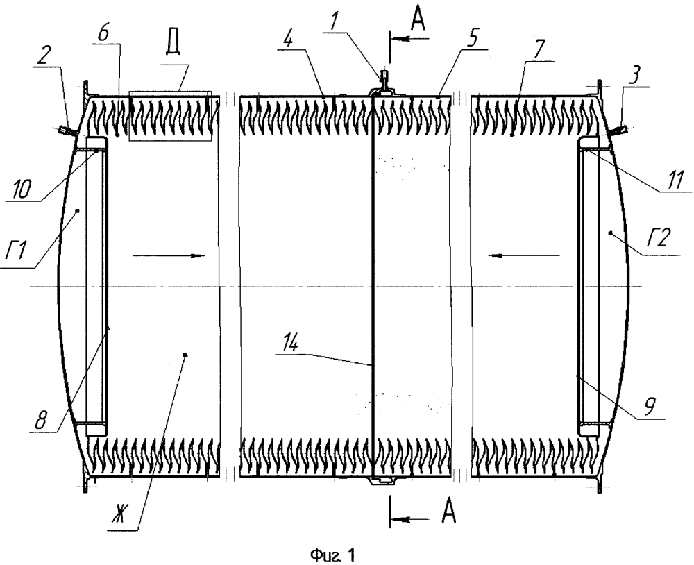 Бак топливный для хранения и подачи жидких компонентов