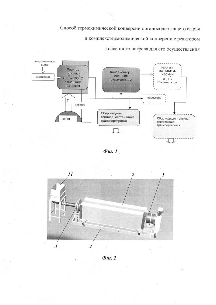Способ термохимической конверсии органосодержащего сырья и комплекс термохимической конверсии, включающий реактор косвенного нагрева, для его осуществления