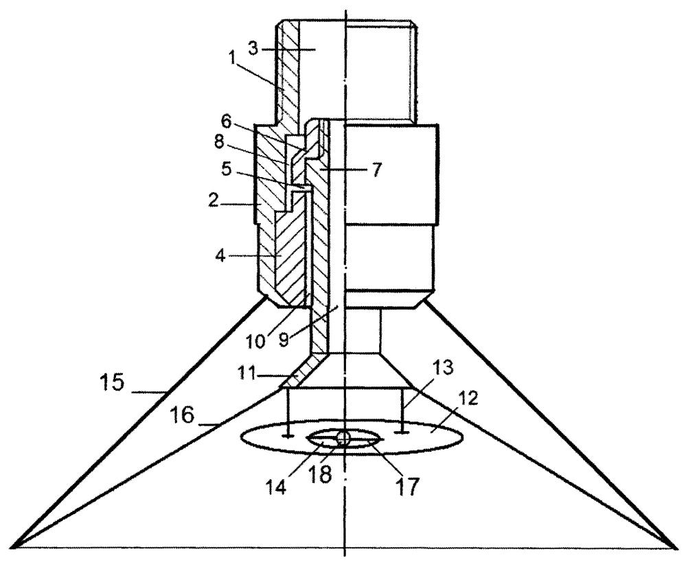 Форсунка для распыливания жидкостей с коаксиальными диффузорными распылителями