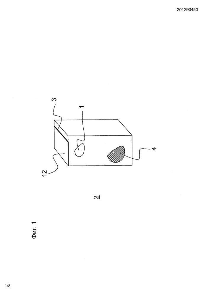 Способ производства контейнера для пищевых продуктов из плоского композита, не содержащего алюминия, с внутренним слоем, при помощи горячего складывания